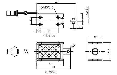 一,推拉电磁铁u0730的尺寸图纸:                       四,接线端子